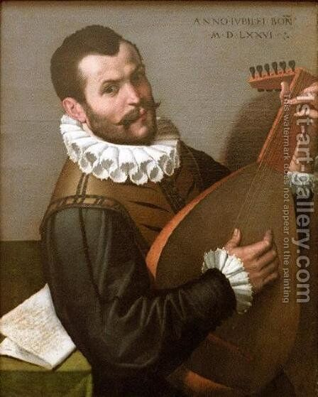 Portrait of a Man Playing a Lute by Bartolomeo Passarotti - Reproduction Oil Painting