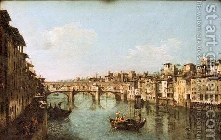 The Ponte Vecchio Florence by Bernardo Bellotto (Canaletto) - Reproduction Oil Painting