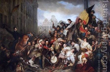 Episode of the September Days 1830 on the Grand Place of Brussels by Baron Gustave Wappers - Reproduction Oil Painting