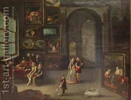 The Archduke Albert and the Archduchess Isabelle Visiting an Art Collector by Hendrick Staben - Reproduction Oil Painting