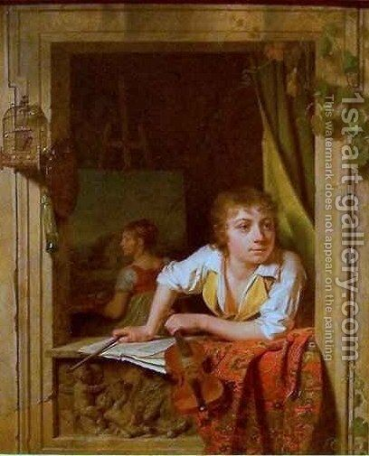 Painting and Music Portrait of the Artists Son by Martin Drolling - Reproduction Oil Painting
