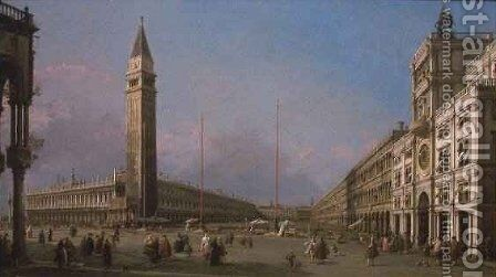 Piazza San Marco Looking South and West by (Giovanni Antonio Canal) Canaletto - Reproduction Oil Painting