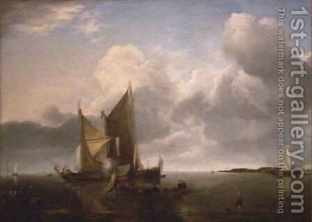 Ships in a Calm by Jan Van De Capelle - Reproduction Oil Painting