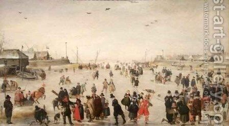 Winter Scene on a Frozen Canal by Hendrick Avercamp - Reproduction Oil Painting