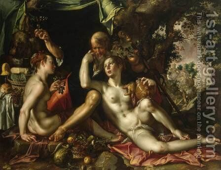 Lot and His Daughters by Joachim Wtewael (Uytewael) - Reproduction Oil Painting