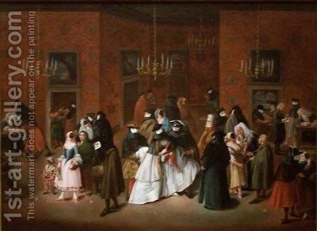 The Ridotto by Giuseppe Gobbis - Reproduction Oil Painting