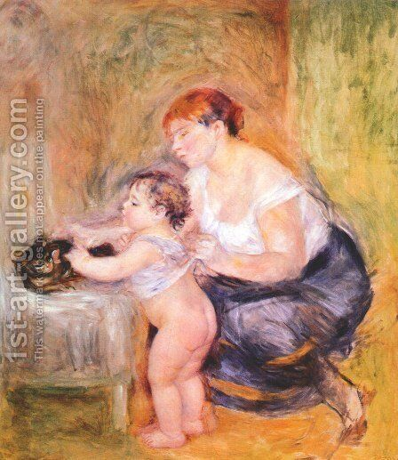 Mother and Child 2 by Pierre Auguste Renoir - Reproduction Oil Painting
