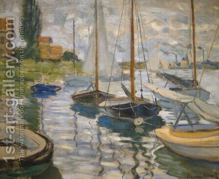 Sailboats on the Seine by Claude Oscar Monet - Reproduction Oil Painting