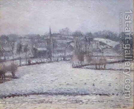 Snow Scene at Eragny View of Bazincourt by Camille Pissarro - Reproduction Oil Painting