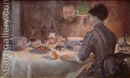 Under the Lamp by Marie Bracqemond - Reproduction Oil Painting