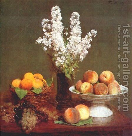 White Rockets and Fruit by Ignace Henri Jean Fantin-Latour - Reproduction Oil Painting