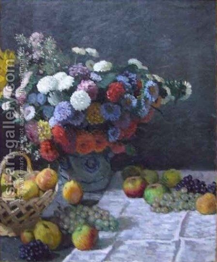 Still Life with Flowers and Fruit by Claude Oscar Monet - Reproduction Oil Painting