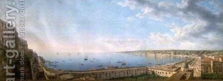 View of the Bay of Naples by Giovanni Battista Lusiere - Reproduction Oil Painting