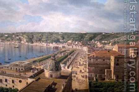 View of the Bay of Naples detail by Giovanni Battista Lusiere - Reproduction Oil Painting