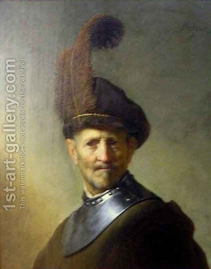 An Old Man in Military Costume by Rembrandt - Reproduction Oil Painting