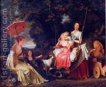Women and Children in a Park by Baron Francois Gerard - Reproduction Oil Painting