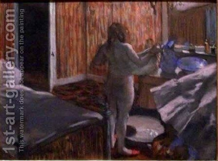 Woman Drying Herself after the Bath by Edgar Degas - Reproduction Oil Painting