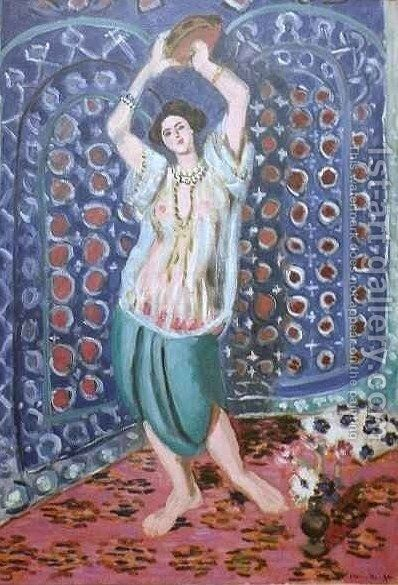 Odalisque with Tambourine Harmony in Blue by Henri Matisse - Reproduction Oil Painting