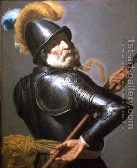 Man in Armour Holding a Pike by Jan Van Bijlert - Reproduction Oil Painting