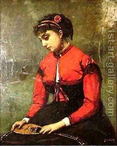 Young Woman in a Red Bodice Holding a Mandolin by Jean-Baptiste-Camille Corot - Reproduction Oil Painting
