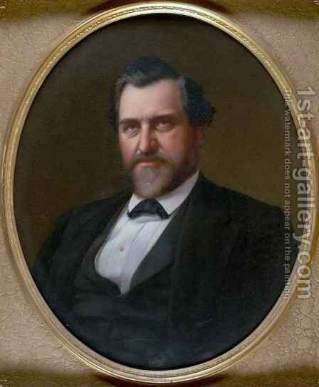 Portrait of Leland Stanford by Stephen William Shaw - Reproduction Oil Painting