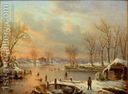 View Near Elizabethtown New Jersey by Marie-Regis-Francois Gignoux - Reproduction Oil Painting