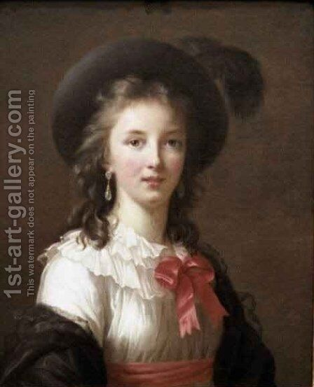 Self Portrait with a Cerise Ribbon by Elisabeth Vigee-Lebrun - Reproduction Oil Painting