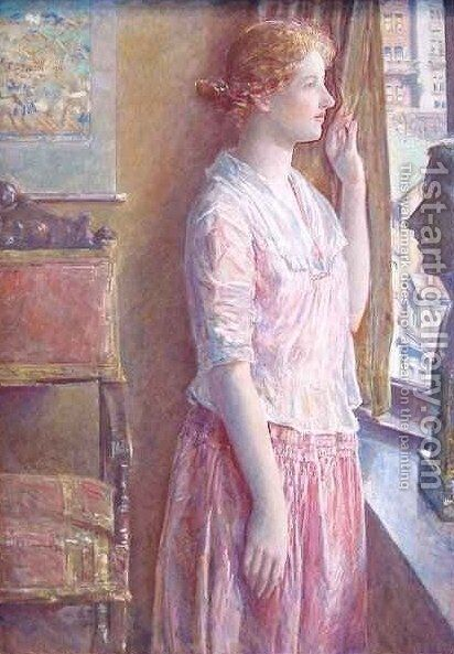 Easter Morning Portrait at a New York Window by Frederick Childe Hassam - Reproduction Oil Painting