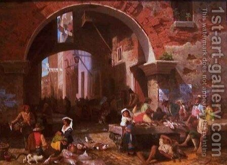 Roman Fish Market Arch of Octavius by Albert Bierstadt - Reproduction Oil Painting