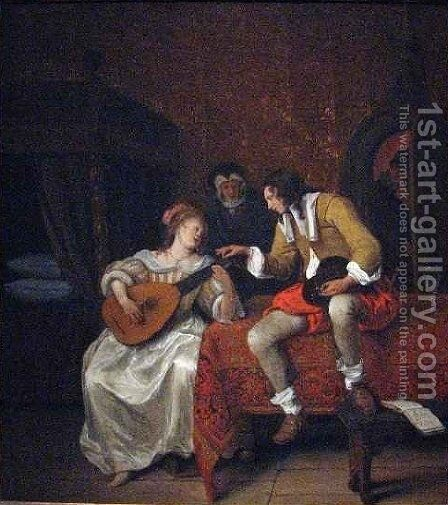 Ascagnes and Lucelle the Music Lesson by Jan Steen - Reproduction Oil Painting