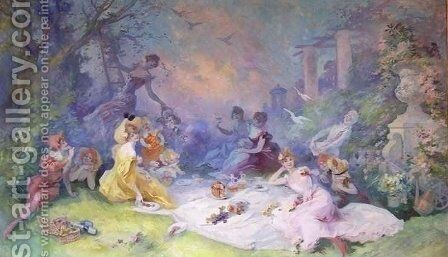 The Picnic by Jules Cheret - Reproduction Oil Painting