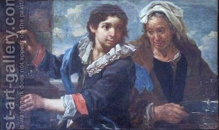 A Young Man and an Old Woman at the Fountain by Bernhardt Keyl - Reproduction Oil Painting