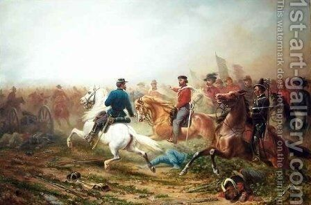 Garibaldi and His Staff on a Battlefield by A. Jules Van Imschoot - Reproduction Oil Painting