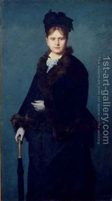 Portrait of Mme Woman with an Umbrella by Jean-Jacques Henner - Reproduction Oil Painting