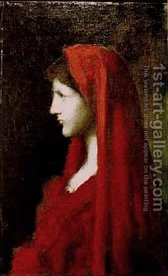 Head of a Woman with a Red Shawl by Jean-Jacques Henner - Reproduction Oil Painting
