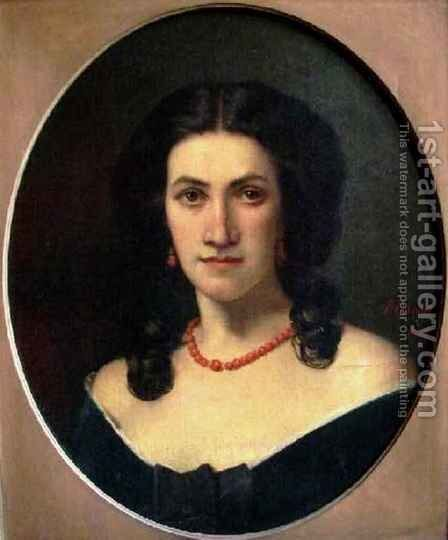 Portrait of a Woman with a Coral Necklace by Jean-Jacques Henner - Reproduction Oil Painting