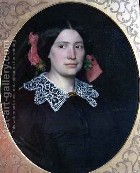 Portrait of Woman with Pink Ribbons and Lace Collar by Jean-Jacques Henner - Reproduction Oil Painting