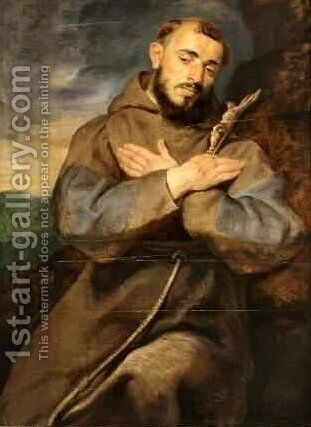 St Francis in Meditation by Rubens - Reproduction Oil Painting
