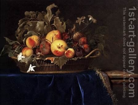 Still-Life with a Basket of Fruit on a Marble Ledge by Willem Van Aelst - Reproduction Oil Painting