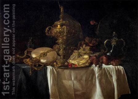 Still-Life with Fruit, Parrot, and Nautilus Pitcher by Willem Van Aelst - Reproduction Oil Painting
