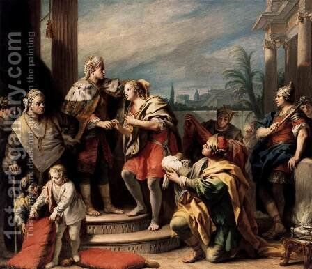 Joseph in the Pharaoh's Palace by Jacopo (Giacomo) Amigoni - Reproduction Oil Painting