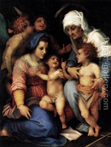 Madonna and Child with St Elisabeth, the Infant St John, and Two Angels by Andrea Del Sarto - Reproduction Oil Painting