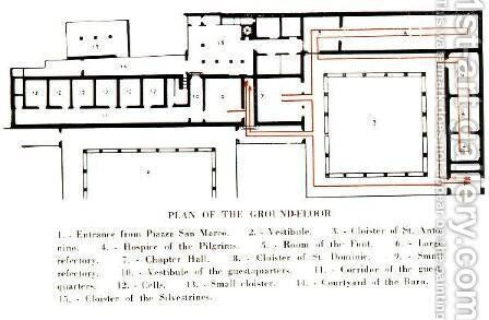 Plan of the ground floor in the Convento di San Marco by Angelico Fra - Reproduction Oil Painting