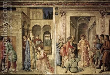 Scenes on the north wall by Angelico Fra - Reproduction Oil Painting