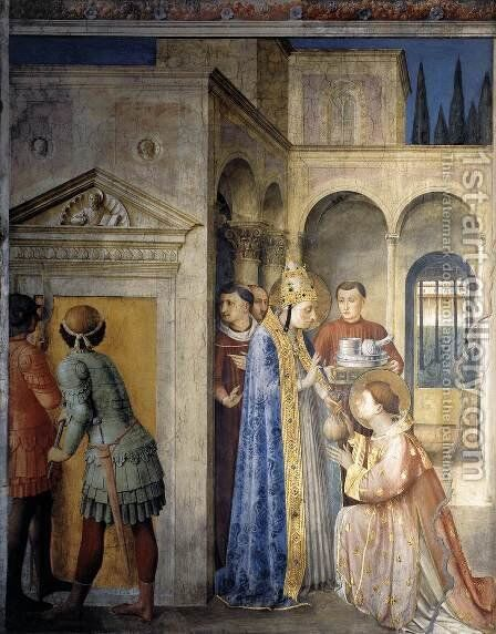 St Sixtus Entrusts the Church Treasures to Lawrence by Angelico Fra - Reproduction Oil Painting