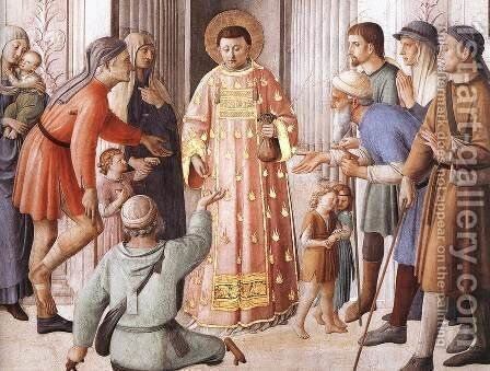 St Lawrence Distributing Alms (detail) by Angelico Fra - Reproduction Oil Painting