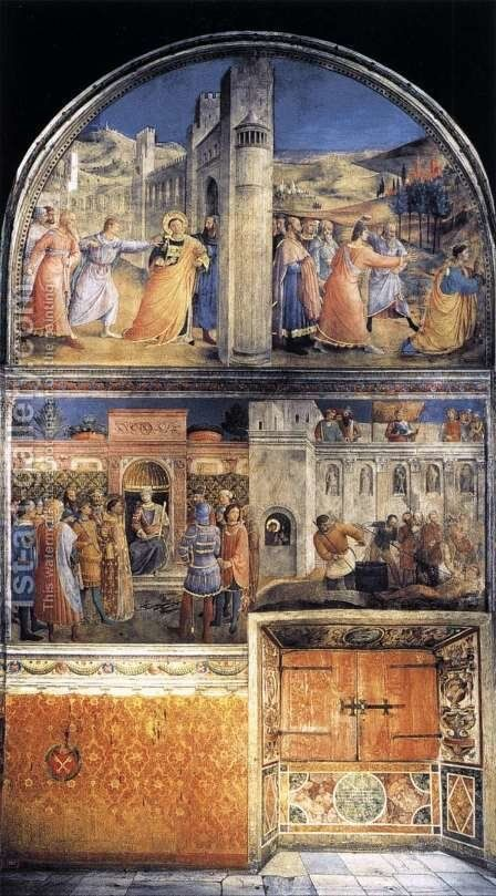 East wall of the chapel by Angelico Fra - Reproduction Oil Painting