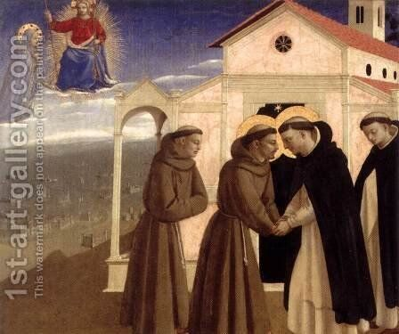 Meeting of St Francis and St Dominic by Angelico Fra - Reproduction Oil Painting