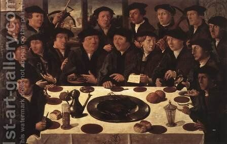 Banquet of Members of Amsterdam's Crossbow Civic Guard by Cornelis Anthonisz. - Reproduction Oil Painting