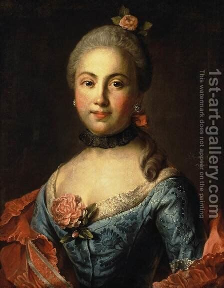 Portrait of a Woman in a Blue Dress by Ivan Petrovich Argunov - Reproduction Oil Painting